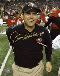 "Jim Harbaugh San Francisco 49ers 2012 NFC Champions Autographed 8'' x 10"" Photograph - Mounted Memories"