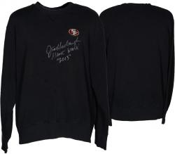 Jim Harbaugh San Francisco 49ers Autographed Game-Used Nike Black Sweatshirt - Mounted Memories  - Mounted Memories