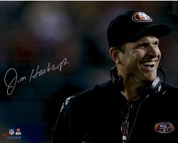 Jim Harbaugh San Francisco 49ers Autographed 16'' x 20'' Close Up Photograph - Mounted Memories