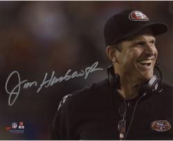 "Jim Harbaugh San Francisco 49ers Autographed 8"" x 10"" Close Up Photograph"