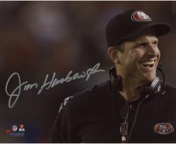 "Jim Harbaugh San Francisco 49ers Autographed 8"" x 10"" Close Up Photograph"