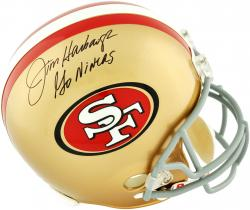 Jim Harbaugh San Francisco 49ers Autographed Riddell Replica Helmet with Go Niners Inscription