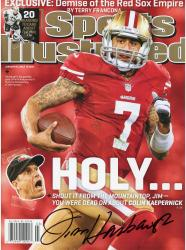 Jim Harbaugh San Francisco 49ers Autographed Holy Sports Illustrated Magazine - Mounted Memories