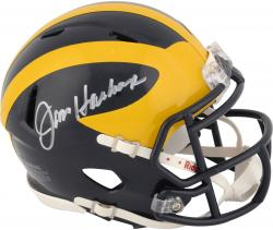 Jim Harbaugh Michigan Wolverines Autographed Riddell Mini Helmet - Mounted Memories