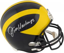 Jim Harbaugh Michigan Wolverines Autographed Riddell Replica Helmet - Mounted Memories
