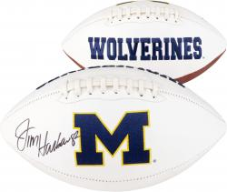 Jim Harbaugh Michigan Wolverines Autographed White Panel Football - Mounted Memories