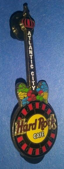 Hard Rock Cafe Hrc Atlantic City Roulette Wheel Guitar Collectible Pin /le Rare
