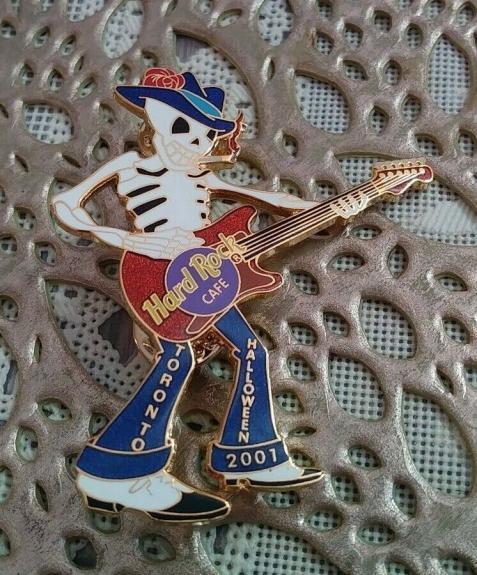 Hard Rock Cafe Hrc Toronto Halloween Rock N Roll Skeleton Guitar Playing Pin /le