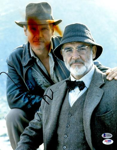 """Harrison Ford Autographed 11"""" x 14"""" Indiana Jones with Sean Connery Photograph - BAS COA"""