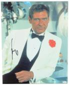 "Harrison Ford Autographed 16""x 20"" Indiana Jones & The Temple of Doom Black Vest Stretched Canvas - JSA LOA"
