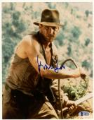 """Harrison Ford Autographed 8"""" x 10"""" Indiana Jones Holdng Whip Photograph - BAS COA"""