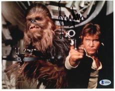 "Harrison Ford Autographed 8"" x 10"" Star Wars with Chewbacca Photograph - BAS COA"