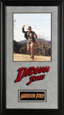 """Harrison Ford Deluxe Framed Autographed 11"""" x 14"""" Indiana Jones Whip Photograph - PSA/DNA COA"""