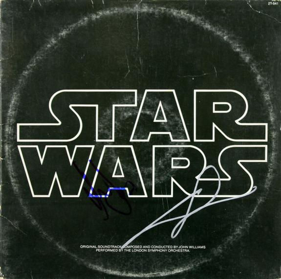 Harrison Ford & George Lucas Signed Star Wars Soundtrack Album Cover BAS #A06711