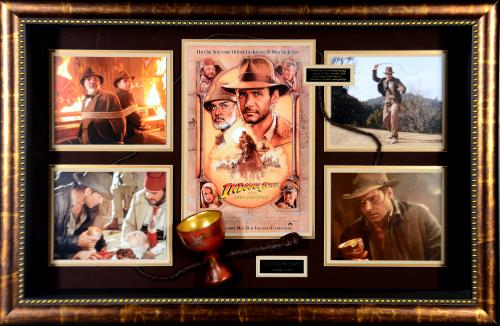 Harrison Ford Indiana Jones Framed Autographed Cup Movie Collage - BAS