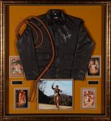 Harrison Ford Indiana Jones Framed Autographed Jacket Movie Collage - BAS