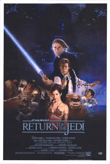Harrison Ford Star Wars Return of the Jedi Autographed Movie Poster - BAS