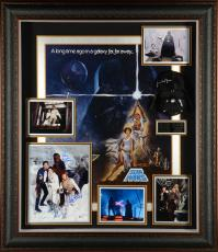 "Harrison Ford, Mark Hamill, Carrie Fisher, James Earl Jones, Peter Mayhew, & David Prowse Framed Autographed 39""x 43"" Star Wars Legacy Shadowbox Collage - Beckett LOA"