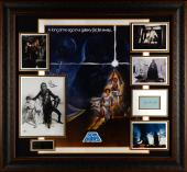 "Harrison Ford, Mark Hamill, Carrie Fisher, James Earl Jones, & Peter Mayhew Framed Autographed 39""x 46"" Star Wars Legacy Collage - Beckett LOA"