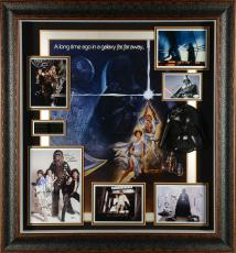 "Harrison Ford, Mark Hamill, Carrie Fisher, James Earl Jones, & Peter Mayhew Framed Autographed 39""x 46""  Star Wars Legacy Shadowbox Collage - Beckett LOA"