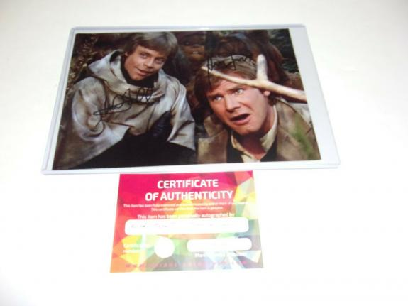 Harrison Ford Mark Hamill Star Wars Han Solo Actors W/coa Signed Photo