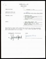 Harrison Ford Search For The Gods Signed 1974 Pilot Contract BAS #A80672