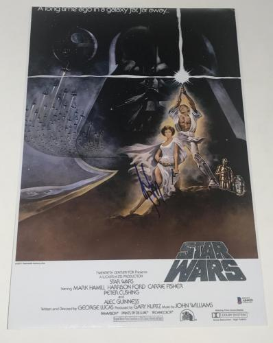Harrison Ford Signed 12x18 Photo Star Wars A New Hope Poster Autograph Proof Bas