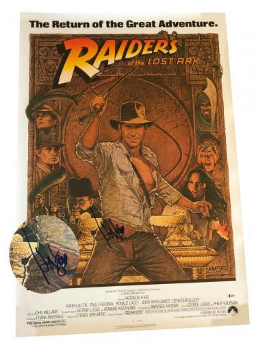 Harrison Ford Signed Auto Indiana Jones Full Size Movie Poster Beckett Bas Coa 1
