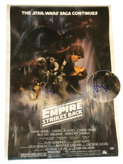 Harrison Ford Signed Auto Star Wars Full Size Movie Poster Beckett Bas Coa 2