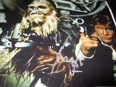 HARRISON FORD SIGNED AUTOGRAPH 11x14 PHOTO HANS SOLO STAR WARS ACTION CHEWBACCA