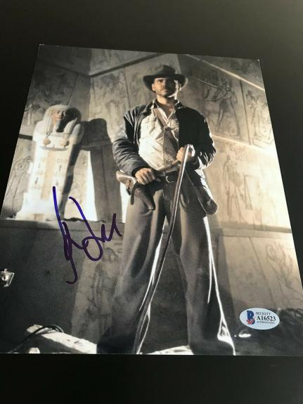 HARRISON FORD SIGNED AUTOGRAPH 8x10 PHOTO INDIANA JONES RAIDERS BECKETT BAS D