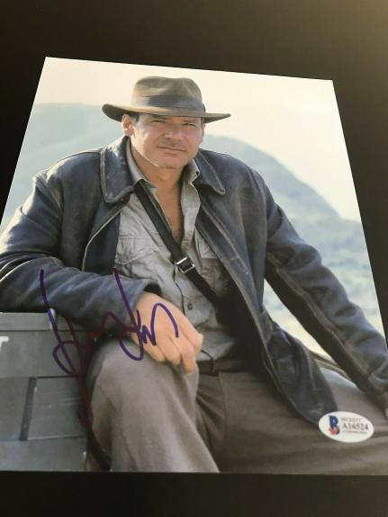 HARRISON FORD SIGNED AUTOGRAPH 8x10 PHOTO INDIANA JONES RAIDERS BECKETT BAS E