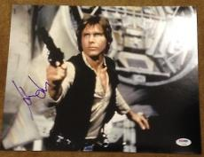 "Harrison Ford Signed Autograph Star Wars"" Classic Gun 11x14 Photo Psa/dna V14260"