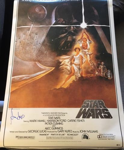 "HARRISON FORD SIGNED AUTOGRAPH ""STAR WARS"" FULL SIZE 27x40 MOVIE POSTER BAS B"