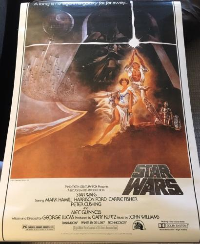 "HARRISON FORD SIGNED AUTOGRAPH ""STAR WARS"" FULL SIZE 27x40 MOVIE POSTER BECKETT"