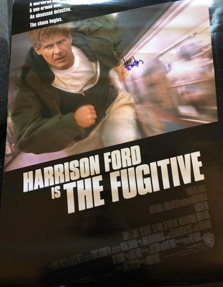"HARRISON FORD SIGNED AUTOGRAPH ""THE FUGITIVE"" ORIGINAL DS 27x40 MOVIE POSTER COA"