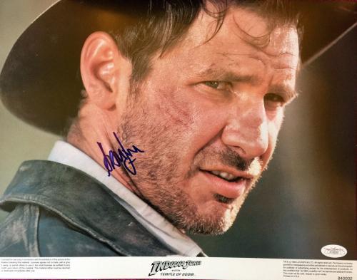 Harrison Ford Signed Indiana Jones And The Temple Of Doom Lobby Card Jsa Coa