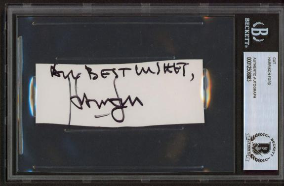 """Harrison Ford Star Wars """"All Best Wishes"""" Signed 1.5x4.25 Cut Signature BAS Slab"""