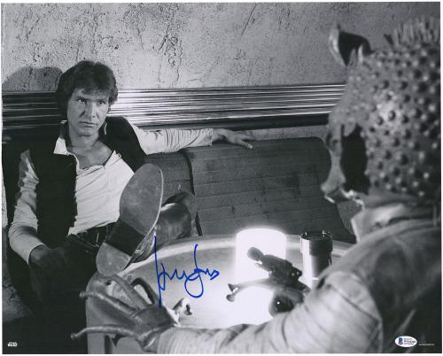 """Harrison Ford Star Wars Autographed 16"""" x 20"""" Han Solo In Millennium Falcon Photograph"""