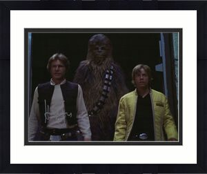 """Harrison Ford Star Wars Autographed 16"""" x 20"""" Han Solo with Chewbacca & Luke Skywalker Photograph"""