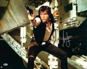 "Harrison Ford Star Wars Autographed 16"" x 20"" Shooting Photograph - BAS"