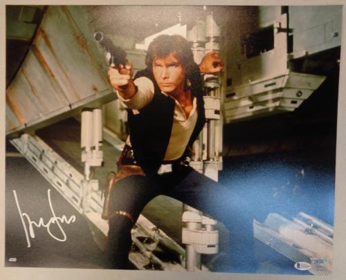 Harrison Ford Star Wars Autographed Shooting 16x20 Photo - Hans Solo