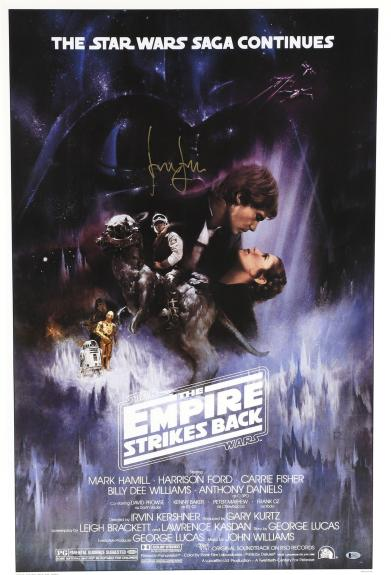 Harrison Ford Star Wars Framed Autographed Empire Strikes Back Movie Poster - BAS