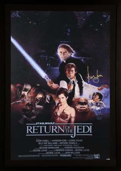 Harrison Ford Star Wars Framed Autographed Return of The Jedi Movie Poster - BAS