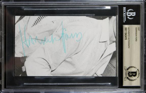 Harrison Ford Star Wars Signed 3x5 Cut Signature BAS Slabbed