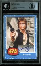 Harrison Ford Star Wars Signed Custom Card Autographed BAS Slabbed