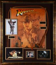 "Harrison Ford & Steven Speilberg Indiana Jones Framed Autographed 48"" x 40"" x 4"" Movie Collage - BAS"