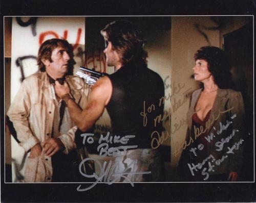 HARRY DEAN STANTON+CARPENTER+BARBEAU SIGNED 8x10 PHOTO+COA   VERY RARE   TO MIKE