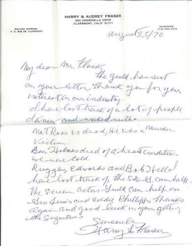 Harry Fraser D.1974 Writer Director The Batman (1943) Signed Letter