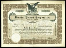 Harry Houdini Signed Houdini Picture Corporation Stock Certificate BAS #A87591